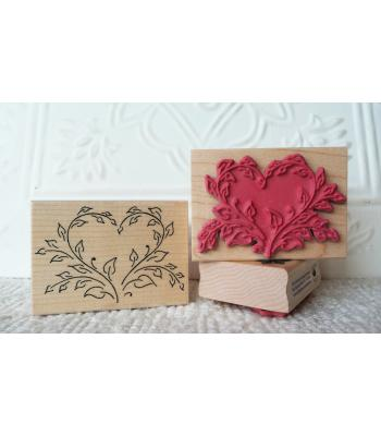 Leaf Heart Rubber Stamp