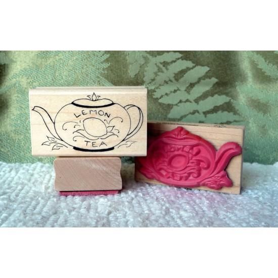 Lemon Teapot Rubber Stamp