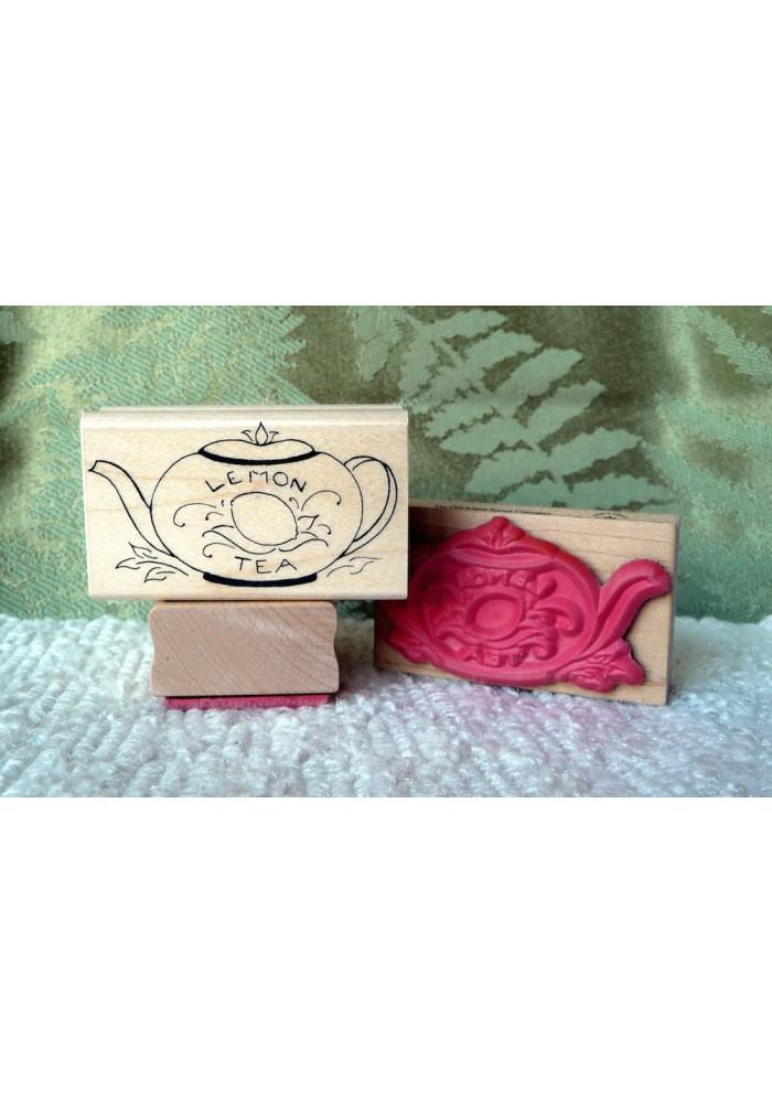 Lemon Teapot Rubber Stamp