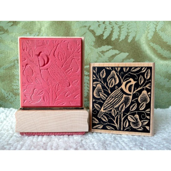 Partridge in a Pear tree Rubber Stamp