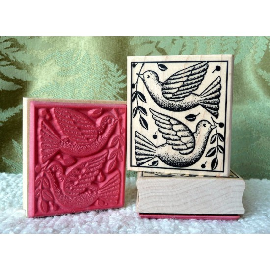 2 Turtle Doves Rubber Stamp