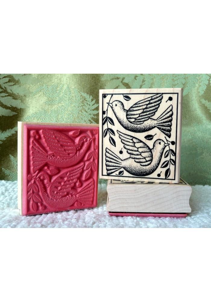 2 Doves Rubber Stamp