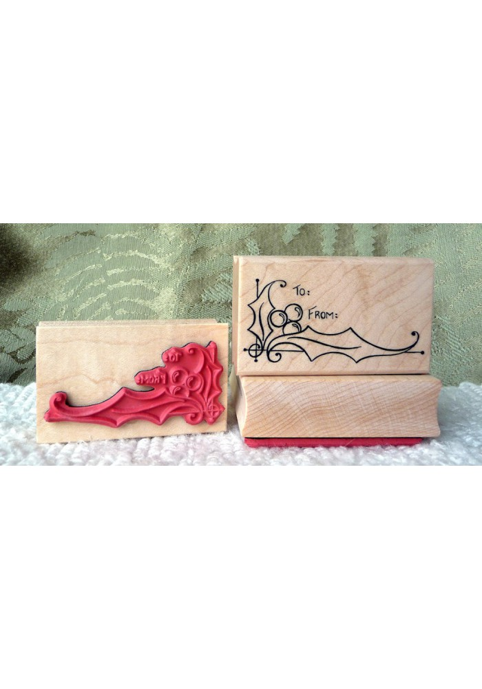 Holly To From Rubber Stamp