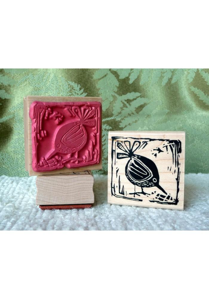 Block Print Bird Rubber Stamp