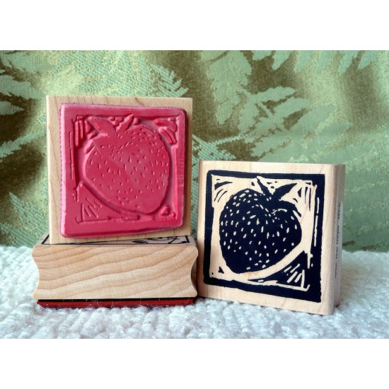 Strawberry Block Print Rubber Stamp