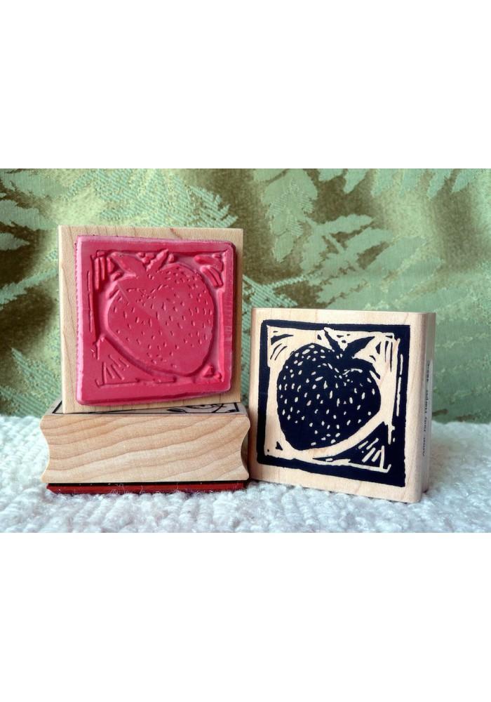 Strawberry Block Print Rubber Stamp