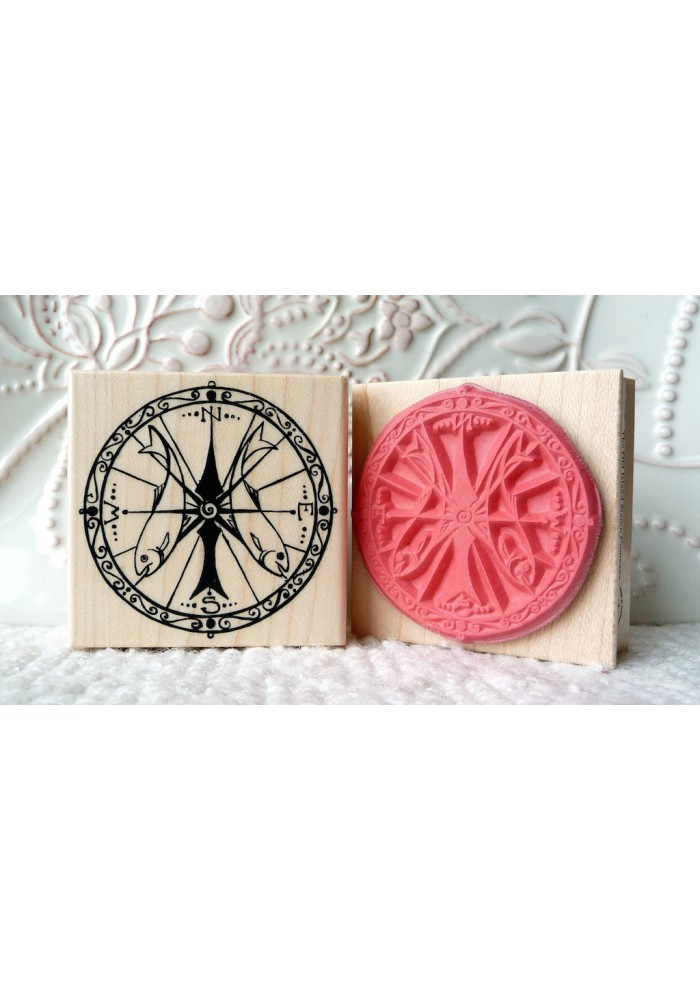 Compass Rubber Stamp
