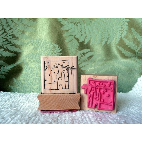 Framed Reindeer Rubber Stamp