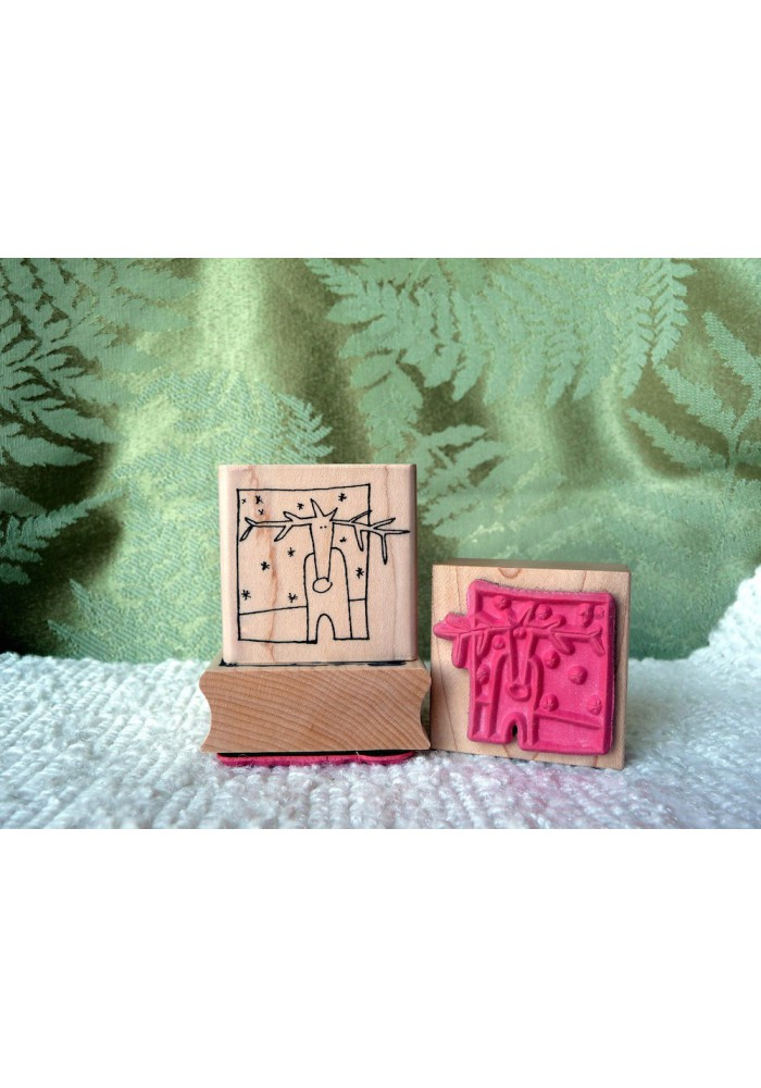 Framed Reindeer Rubber Stamp