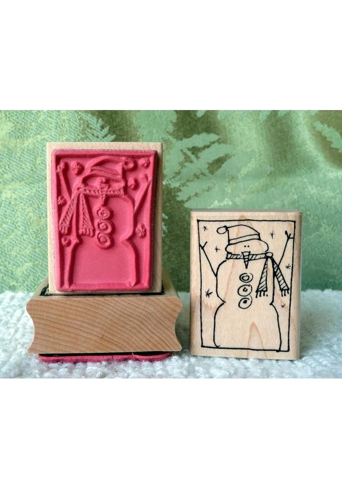 Framed Snowman Rubber Stamp