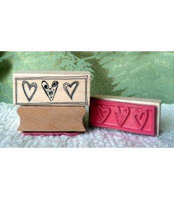 3 Hearts Rubber Stamp