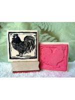 Block Print Rooster  Rubber Stamp