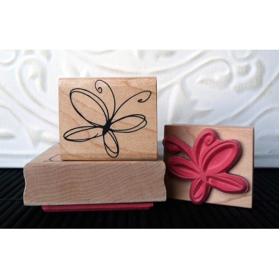 Wispy Butterfly Rubber Stamp