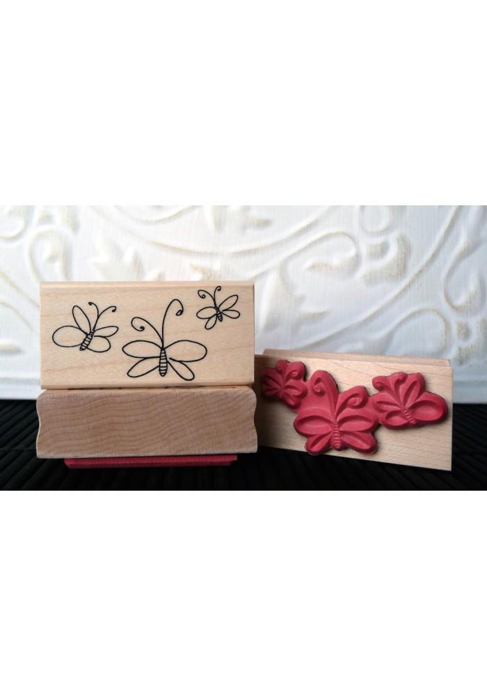 3 Wispy Butterflies Rubber Stamp