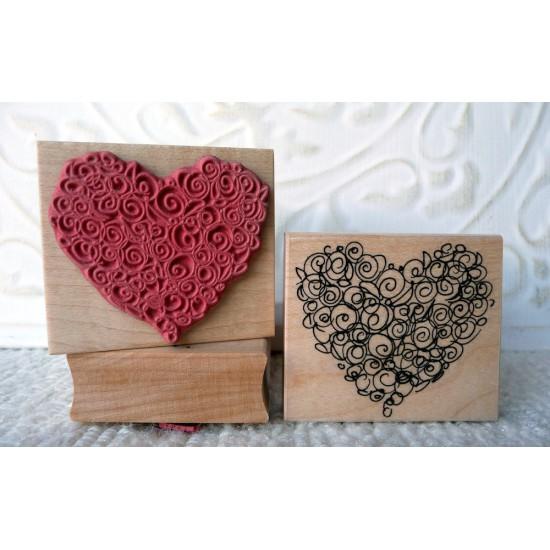 Rosette Heart Rubber Stamp
