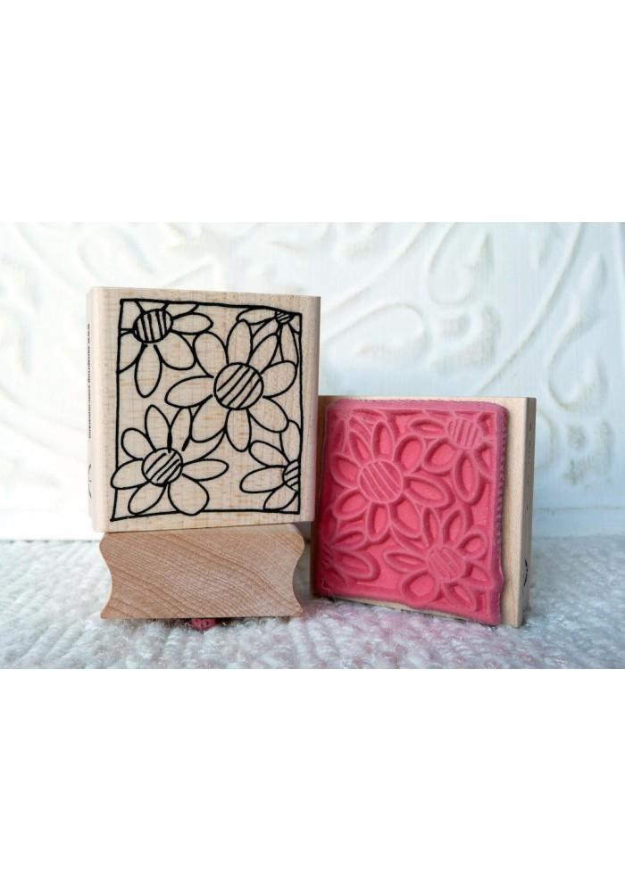 Framed Blooms Rubber Stamp