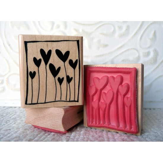 Framed Hearts Rubber Stamp