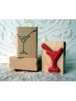 Martini Glass Rubber Stamp
