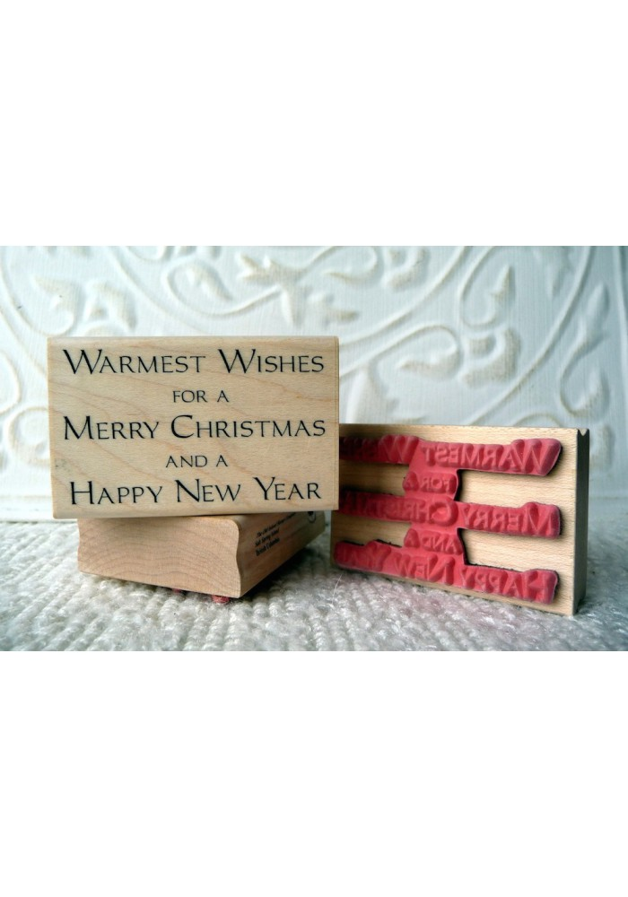 Warmest Wishes Christmas Sentiment Rubber Stamp