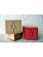 Framed Christmas Tree Stamp Rubber Stamp