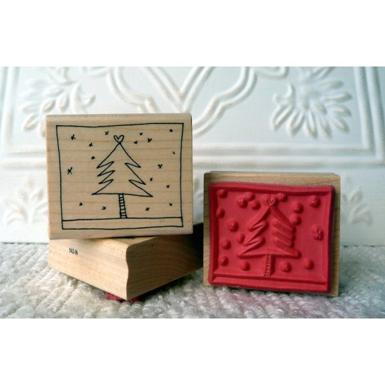 Framed Christmas Tree Stamp Rubber Stamp