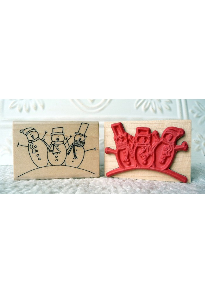 3 Snowmen Rubber Stamp
