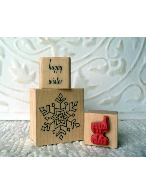 happy winter Rubber Stamp