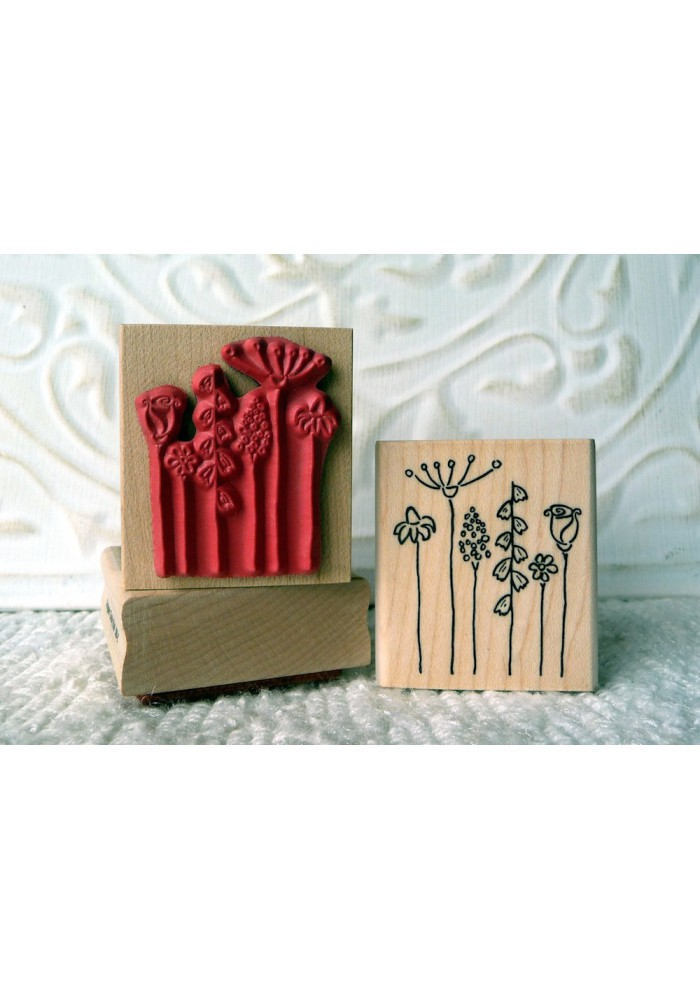 Stick Flowers Rubber Stamp