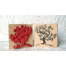Winter Berry Tree Rubber Stamp