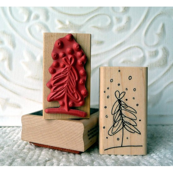 Fluffy Tree Rubber Stamp