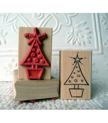 Potted Christmas Tree Rubber Stamp