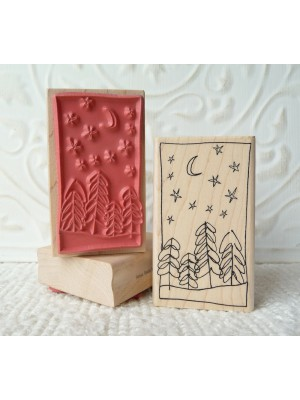 Whimsical Tree and Stars Rubber Stamp