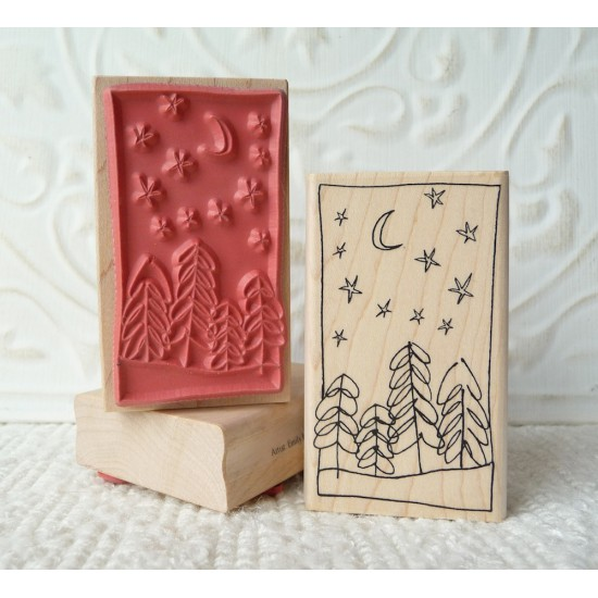 Snowy Winter Scene Rubber Stamp