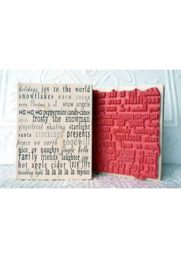 Christmas Text Background Rubber Stamp