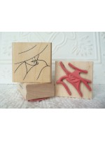 Stylized Woman with Hat Rubber Stamp