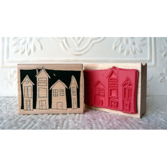 Night Time Houses Rubber Stamp