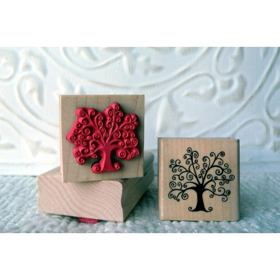 Swirly Tree Rubber Stamp