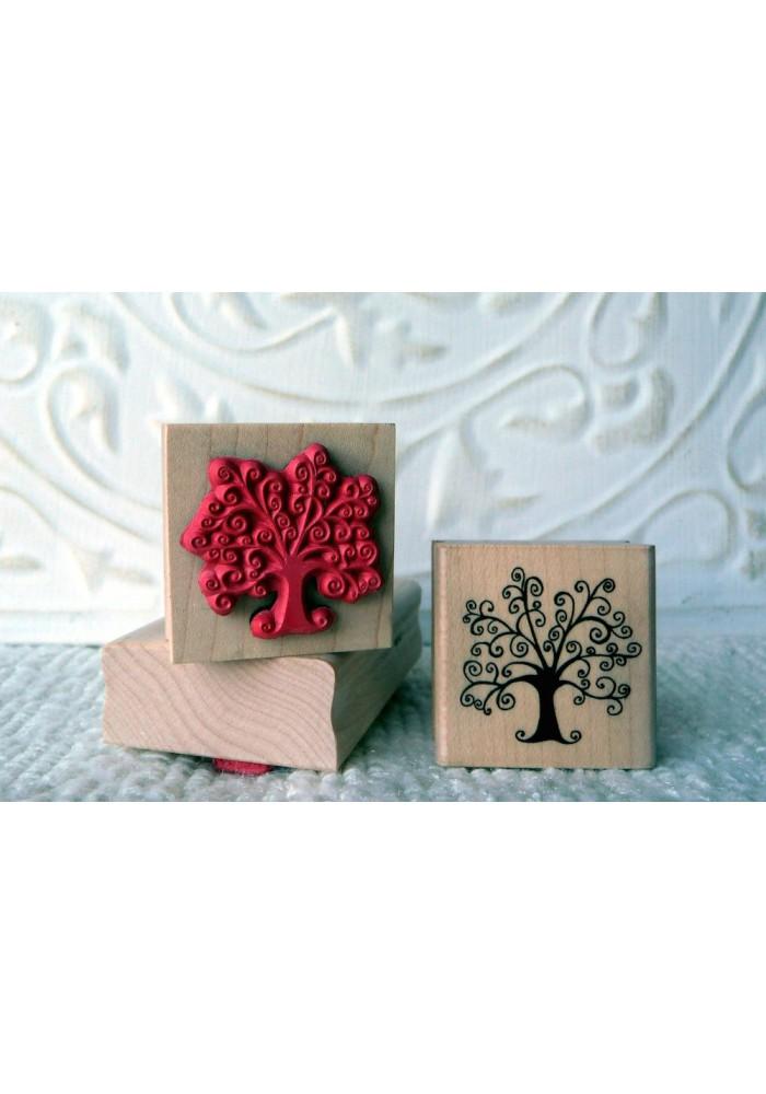 Swirly Tree Rubber Stamp
