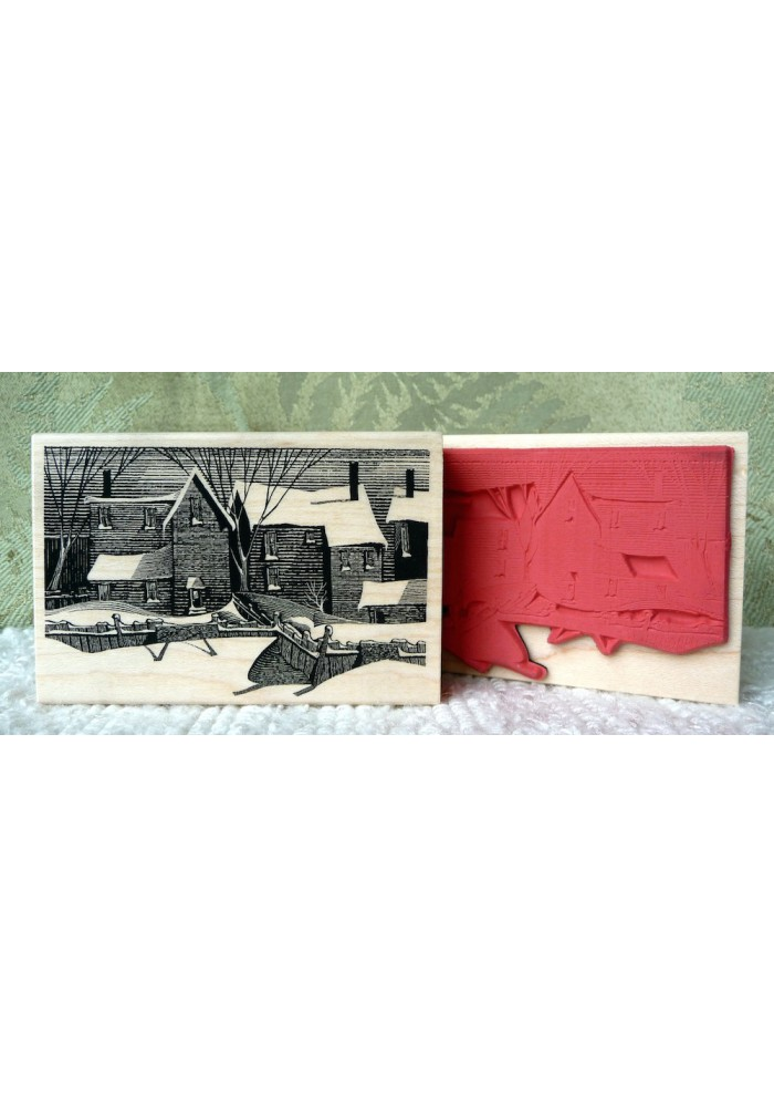 Clapboard Houses Rubber Stamp