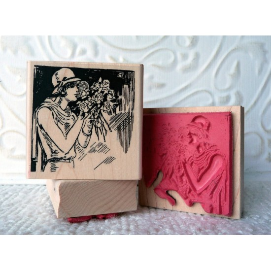 Rose Lady Rubber Stamp