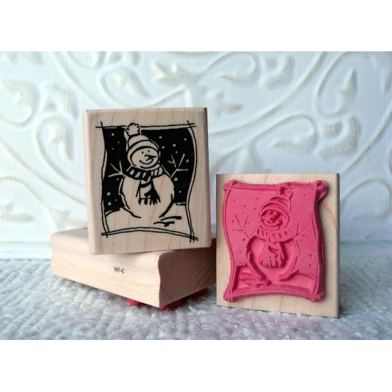 Framed Snowman Rubber Stamp