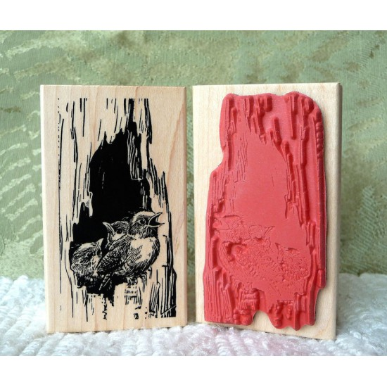 Great Expectations Baby Birds Rubber Stamp