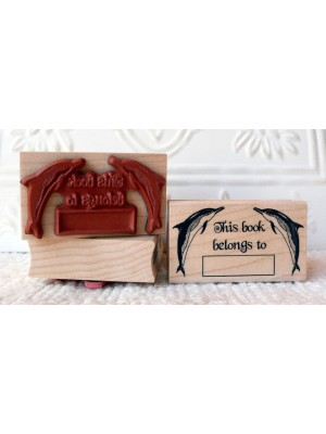 Dolphin Bookplate Rubber Stamp