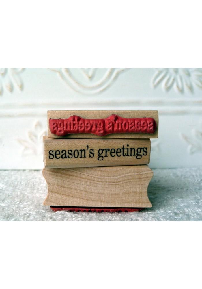 season's greetings Rubber Stamp