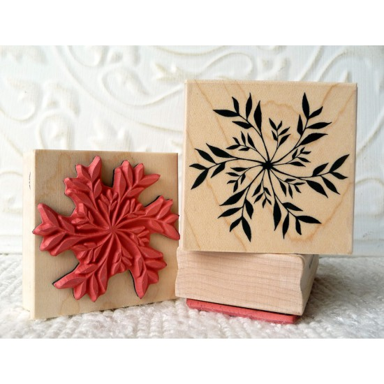 Botanical Snowflake Rubber Stamp