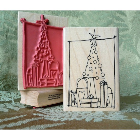 Christmas Morning Rubber Stamp
