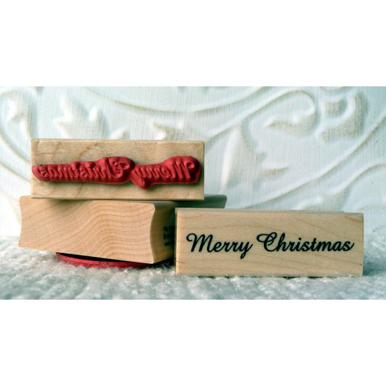 Small Merry Christmas Script Rubber Stamp