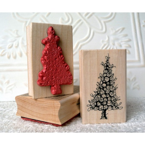 Botanical Christmas Tree Rubber Stamp