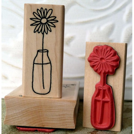 Single Flower in Vase Rubber Stamp