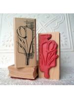 Tulip Collage Rubber Stamp